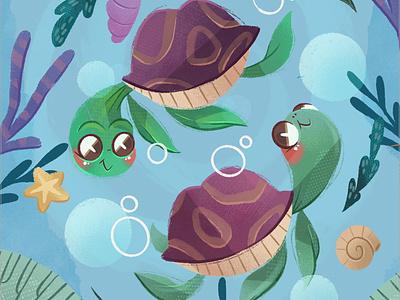 Sea Turtles underwater undersea star cute turtles sea art children book illustration childrens illustration digital procreate digital painting digital art digitalart illustration children