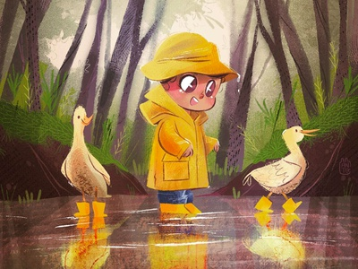 Rainy Days trees ducks rain boy art children book illustration childrens illustration digital procreate digital painting digital art digitalart illustration children