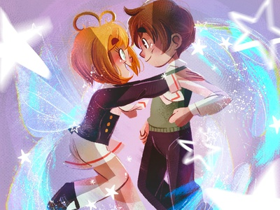 Sakura and Syaoran love sakura sakuracardcaptor animeart anime art children book illustration childrens illustration digital procreate digital painting digital art digitalart illustration children
