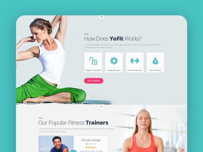Fitness Website Design workout gym exercise sport yoga landing page desktop trainers homepage mobile website design white typography bold grid clean whitespace photography fitness