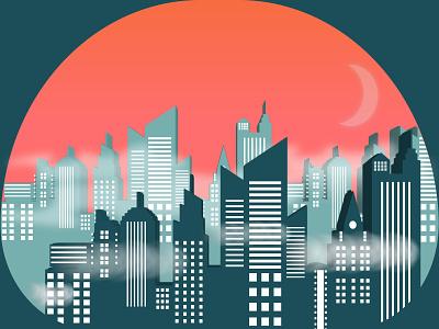Fog City Sunset city design vector illustrator sunset sunset illustration city illustration cityscape