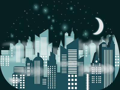 Fog City at night 3d art dark mode design cityscape stars night illustrator city illustration city