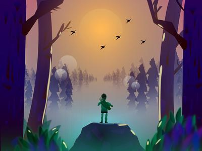 Fantasy fantasy art wildlife wild design fantasyart rock trees birds illustrator digital illustration digital painting digitalart art forest fantasy