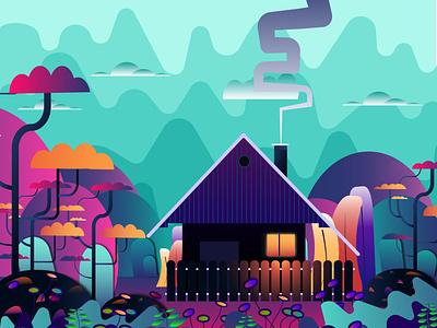 Dreamland landscape design art design gradien colors house illustration illustration design illustration home house illustrator digitalart artwork art dreamland
