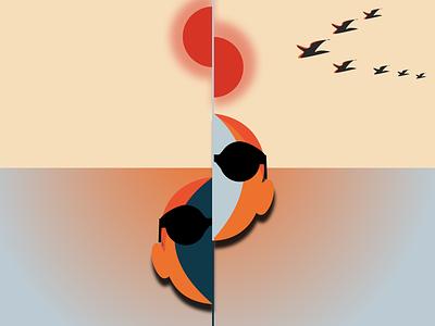 S P L I T sunny sunglasses portrait dribbblers graphicdesign dribble design art illustration illustrator design sketch birds sea orange sun beach minimal