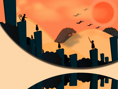 Danger adobe 3d minimal birds sunset hands buildings attack on titan titan characters 2d art 2d abstract photoshop illustration vector art illustrator design danger