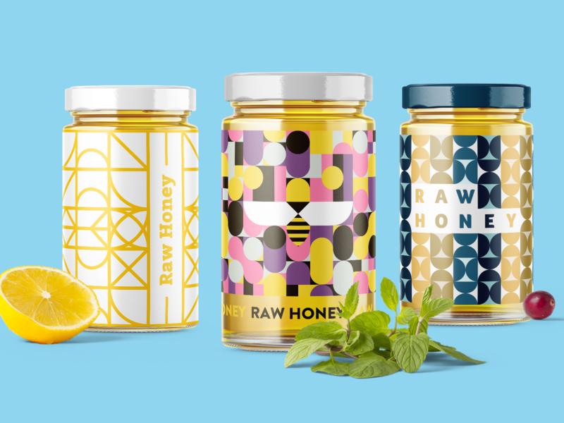 Honey jars with Blocco patterns 🍯 tools bee honey jar packaging branding ui illustration sketchapp sketch patternlibrary pattern kit patterns pattern geometry