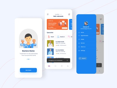 Health service & Doctor app mobile clean minimal hospital ambulance doctor appointment ui ux doctor consulting home screen list page icon dental care details page book app illustrator onbording