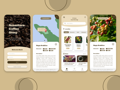 Nusantara Coffee Story mobile app design coffee ui coffee app mobile app mobile graphic design design app ux ui