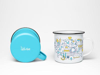 BRANDING cup coffee café soif tech numeric data vector illustration mug