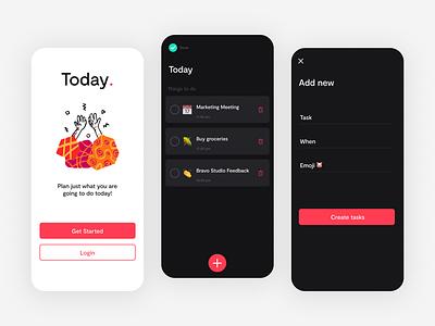 Today. Task app form today blush illustration tasks android ios light dark ui todo app app design