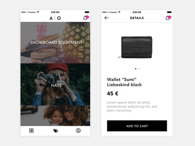 AO Fashion products minimal light theme app ui ux design fashion store shop ecommerce