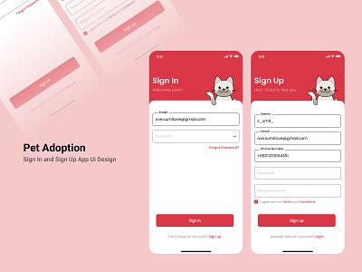Pet Adoption Sign In and Sign Up app UI Screen Design typography branding uiuxdesign ui design ux animation design figma app design signup screen sign in pet adoption pets vector illustration design ui