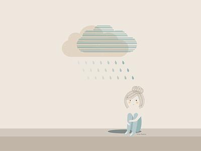 My Personal Raincloud lost alone blue mood emotions loneliness depression anxiety raining cloud muted colors negative space flatdesign cute girl illustration character raincloud rain sad