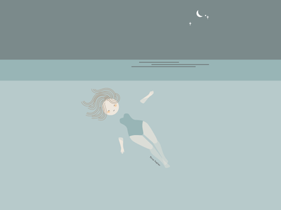 Under the Moon and Stars nature summer beach whimsical simple design adobe illustrator muted colors negative space flat design mood happy swimming bathing suit illustration girl character girl relax floating ocean water