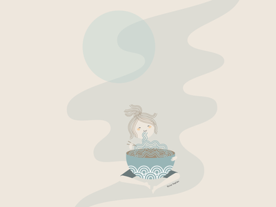 Late Night Ramen udon cartoon whimsmical cute life happy snack adobe illustrator flat design muted colors negative space noodles asian food foodie food girl characterdesign illustration eating ramen