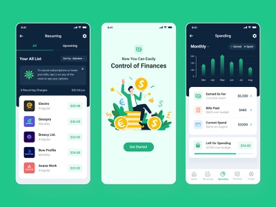 Budget & Bill Tracker App mobile app app ux uidesign bill app billing app app design tracker app money app finance app finance