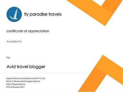 Certificate for travel blogger travel certificate