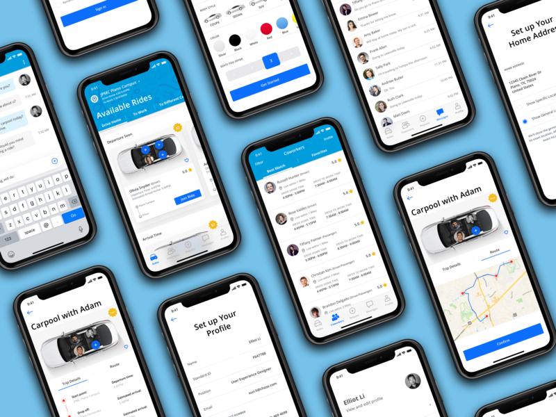 Carpool with coworkers iphone xs iphone x coworkers internal ios app app design app carpooling carpool