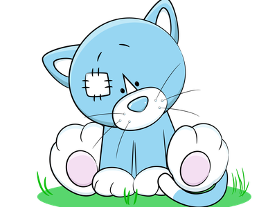 Плюшевый котик котёнок кот котик плюшевая игрушка рисунок vector illustration design