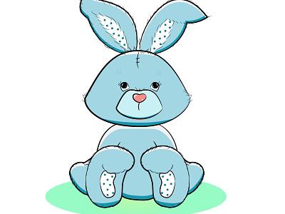 Плюшевый заяц зайчик заяц плюшевая игрушка рисунок vector illustration design