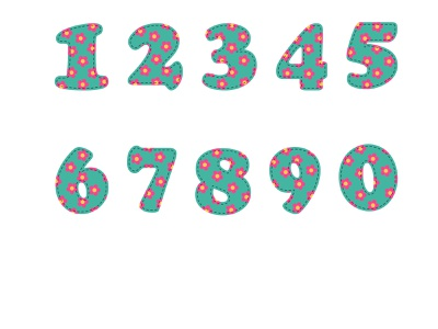 Numbers from 0 to 9 with a print of flowers branding рисунок vector illustration design print green pink flowers numbers