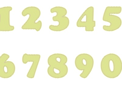 Numbers from 0 to 9 with striped print numbers green рисунок design vector illustration
