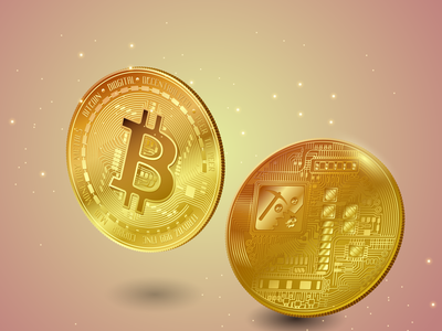 Bitcoin vector illustration coin souvenir cryptocurrency