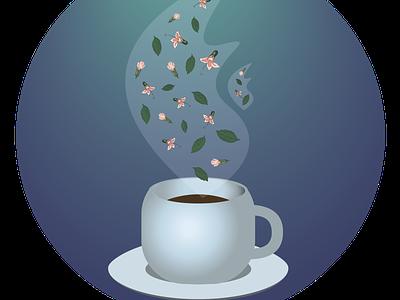 Mug with mint tea hot tea mint tea mint warmth comfort tea рисунок illustration design vector
