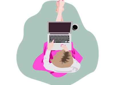 Working on a laptop. The girl is sitting on the floor and workin work at a laptop laptop work girl design illustration рисунок