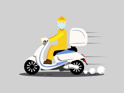 A delivery guy in a medical mask moped electric express transportation man car box deliver courier рисунок illustration design