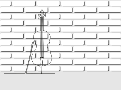 Cello in a single line against a white brick wall рисунок design vector illustration symphony sound melody concert art classical instrument music cello