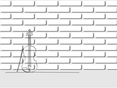 A violin in a single line against a white brick wall symphony sound melody concert art classical instrument music cello vector рисунок illustration design