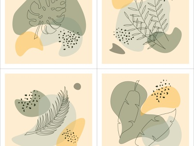 A set of abstract backgrounds with tropical elements in a single vector outline simple illustration abstract symbol style sketch graphic drawing tropical modern element art nature line design plant background leaf