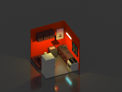 Orange Kitchen Voxel