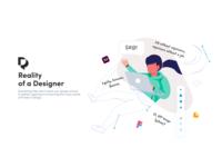 Reality of a Designer Illustration adobe xd branding logo design product design vector minimal class online course course illustration