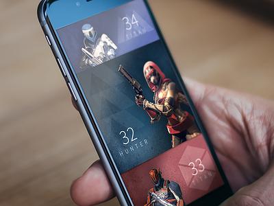Destiny App companion ios re design selection character ui app destiny
