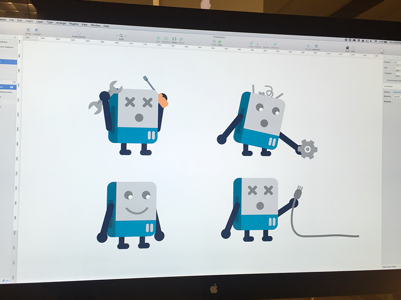 Roboop - Our Oops Robot mascot character error message oops robot simple flat vector illustration