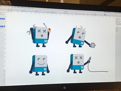 Roboop - Our Oops Robot mascot character error message oops robot simple flat vector illustration