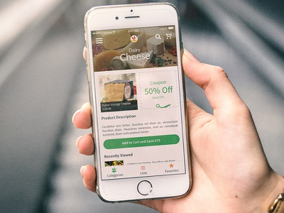Shopping App menu food flat cart shopping ios app