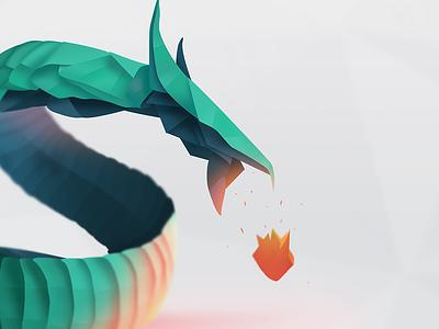 Origami Dragon Initiative dragon fire initiative illustration vector flat origami