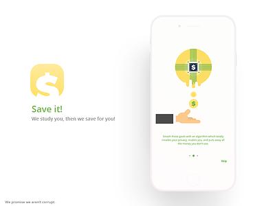 Save It! App onboard money ui adobe xd light minimal ios app adobexd