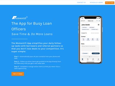 Momentifi App Landing Page design web