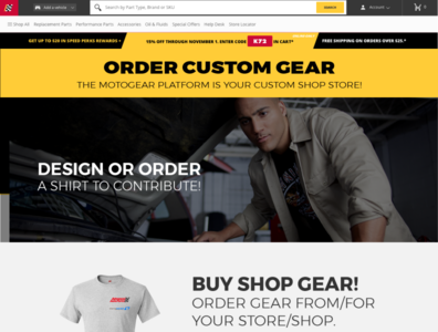 Example Custom Apparel Landing Page for Pitch web design pitch