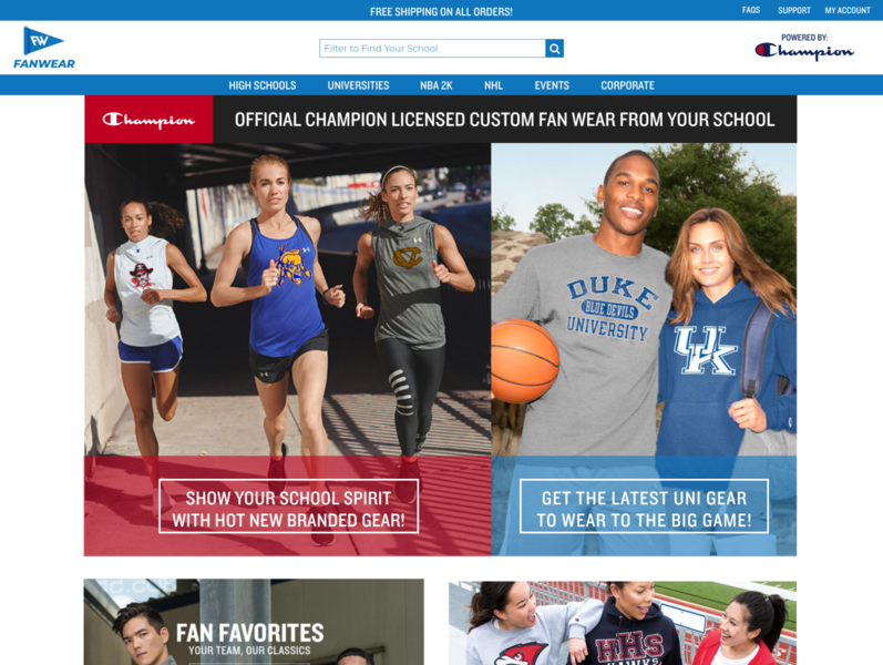 Champion Fanwear Home Page (First Look) web