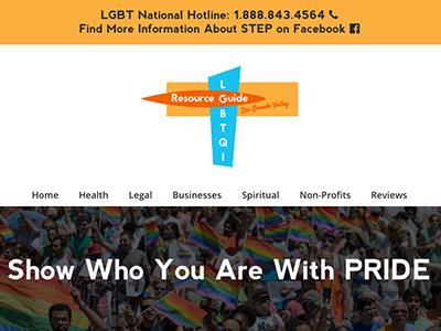 LGBTQI Resource Guide RGV Homepage design ui web
