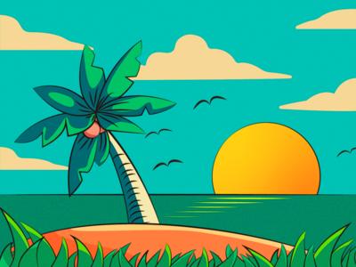 阳光沙滩 illustration 午后 矢量 阳光 海滩 复古 插画
