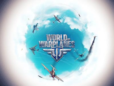 Illustration for leading game developer illustration planet round war planes sky blue high clouds shots fog gaming