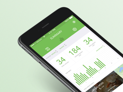 Connect Scale app interface green table sport app ios ux ui