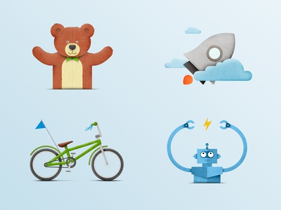 Illustrations for corporate web-site flat web toys robot clouds rocket bike bear illustration